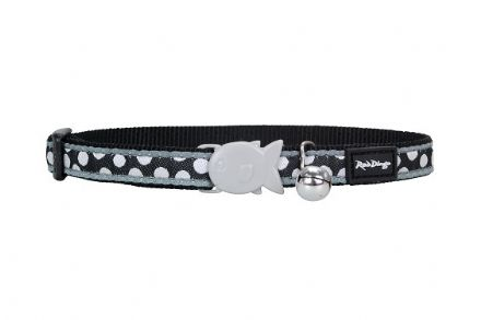 Red Dingo Cat collar White Spots on Black